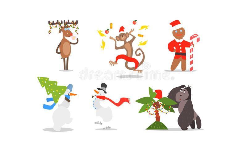 Funny Christmas characters for winter Holidays design, reindeer, monkey, gingerbread, snowmen, gorilla and palm tree. Vector Illustration isolated on a white stock illustration