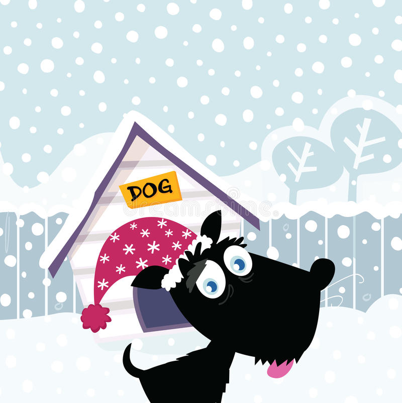 Funny christmas dog. Adorable christmas doggie in christmas hat. Vector Illustration