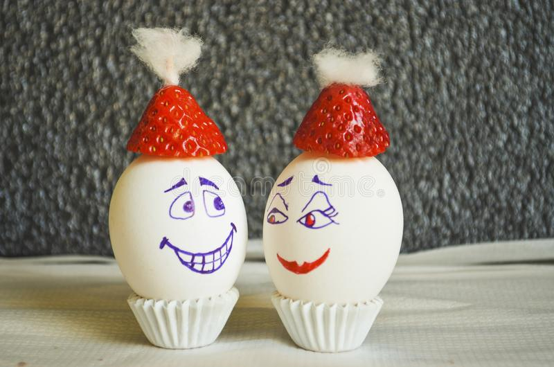 Funny Christmas eggs royalty free stock photo