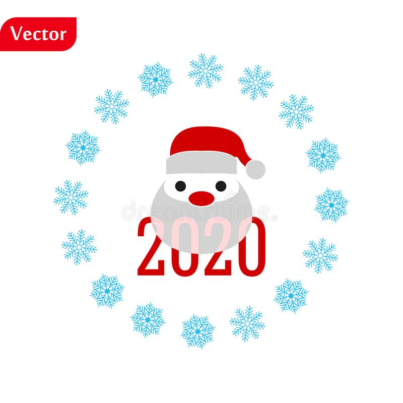 Funny Christmas greetings card Funny Santa Claus. vector illustration isolated illustration eps10 stock image