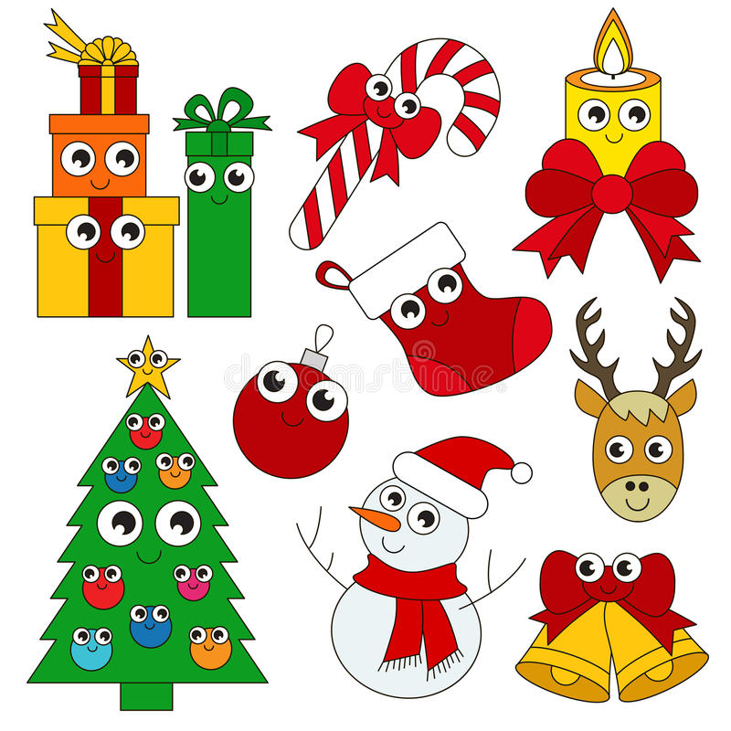 Download Funny Christmas Holiday Set The Collection Of Coloring Book Template Group