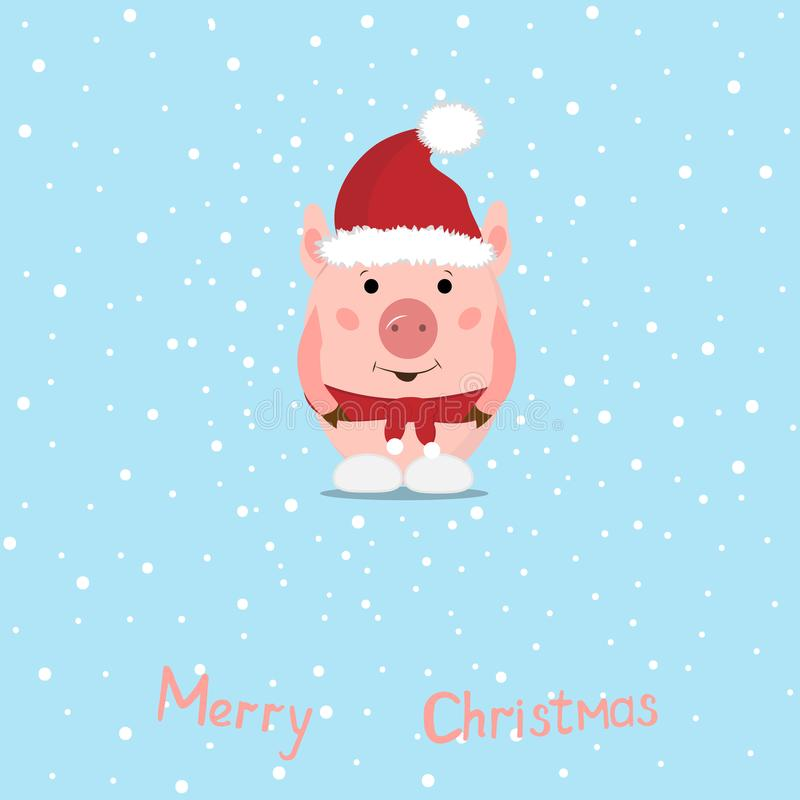 Funny Christmas pigs, Greeting card Merry Christmas and New Year. Pig Santa Claus royalty free illustration