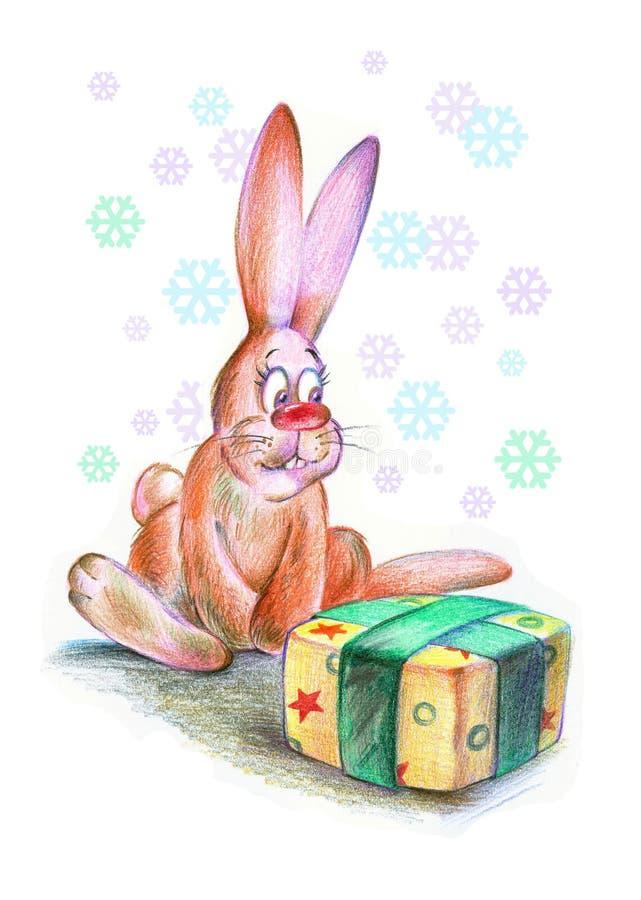 Funny Christmas rabbit stock photography