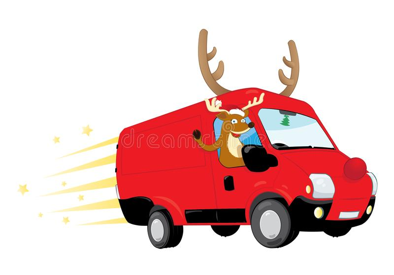 Funny Christmas Reindeer driving a red van and delivering presents. A cartoon representing a modern Christmas Reindeer driving a speedy red van with antlers and vector illustration