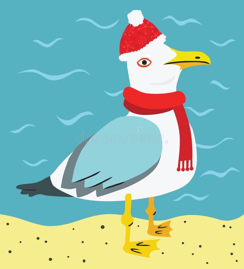 funny christmas seagull on the beach stock illustration
