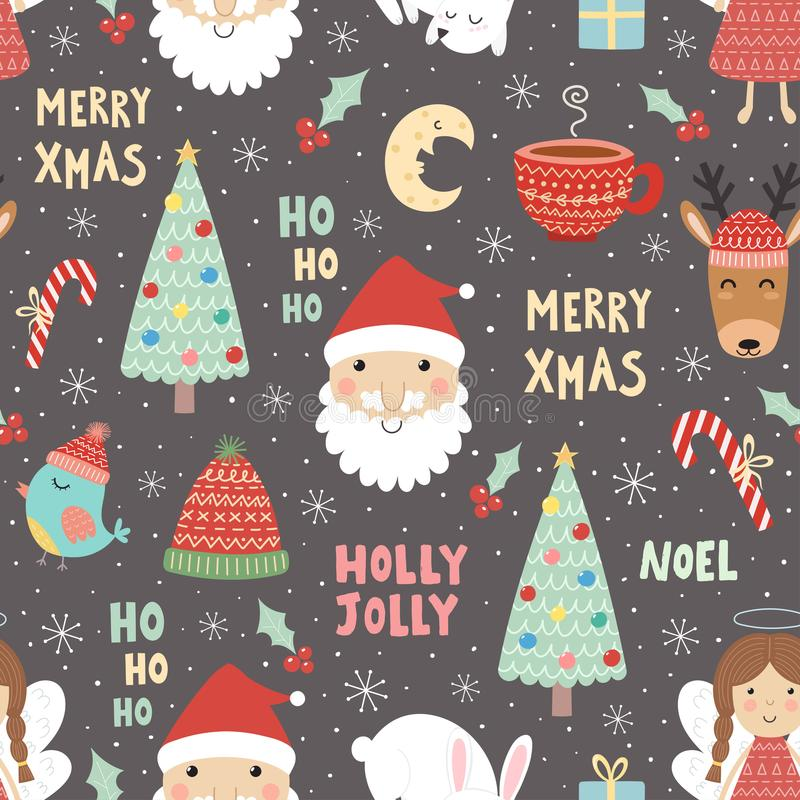 Funny Christmas seamless pattern with Santa Claus stock illustration