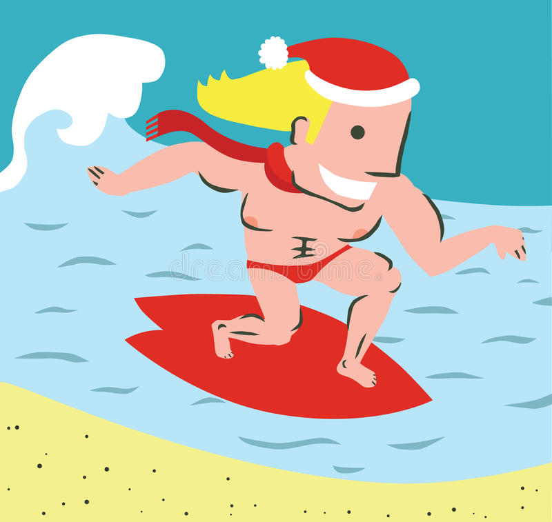 Free Funny Christmas Surfer In The Sea Stock Photography - 42932842