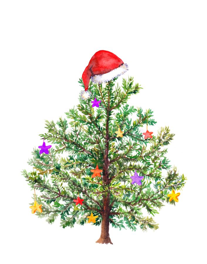 Funny Christmas tree with decorative baubles and red Santa`s hat. Watercolor. Funny Christmas tree with decorative baubles in red Santa`s hat. Watercolor royalty free stock image