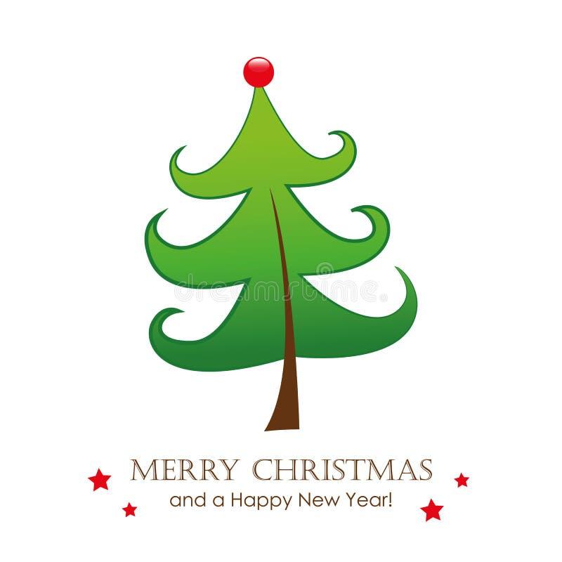 Funny christmas tree greeting card royalty free illustration