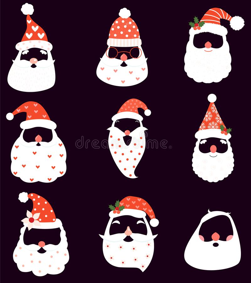 Funny Christmas vector set with Santa hats, beard and mustaches. And noses for photo booth props and holiday decor royalty free illustration