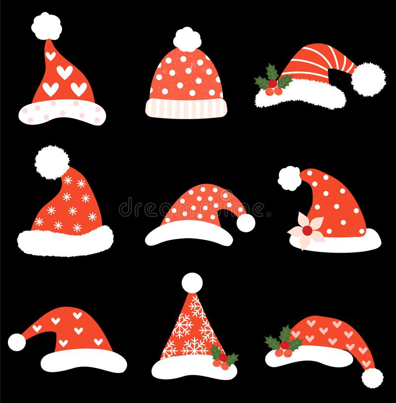 Funny Christmas vector set with Santa hats vector illustration