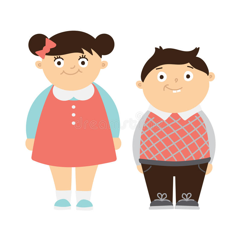 Funny chubby kids. Funny chubby children on white background. Cute boy and girl smiling. Kids with bellies stock illustration