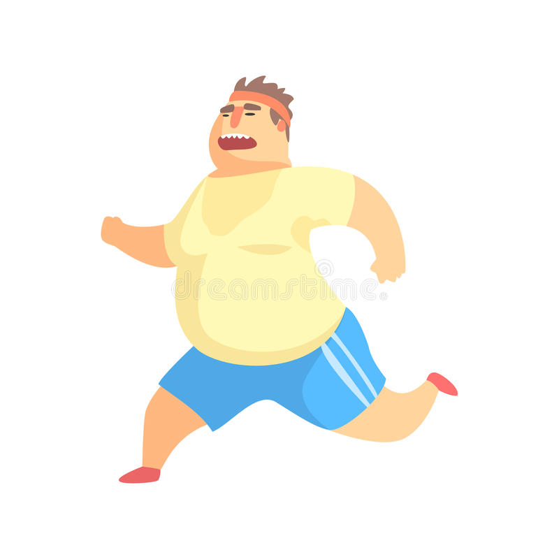 Funny Chubby Man Character Doing Gym Workout Running And Sweating Illustration. Sport And Fat Guy Funny Simple Cartoon Drawing Isolated On White Background stock illustration