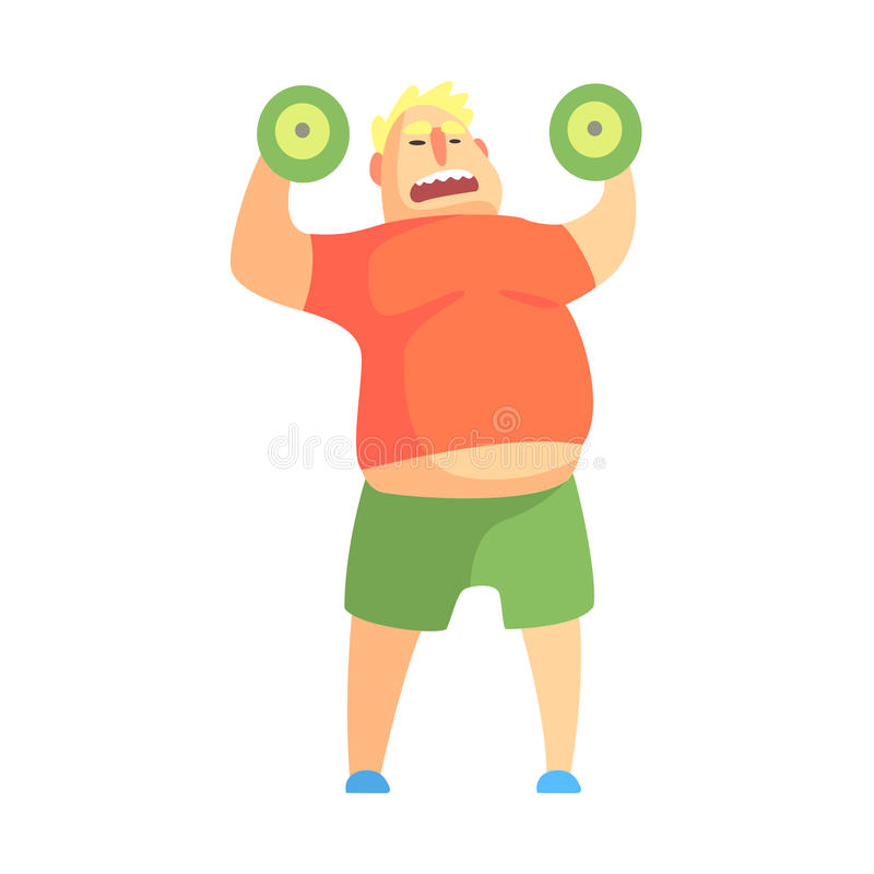 Funny Chubby Man Character Doing Gym Workout Weight Lifting Illustration. Sport And Fat Guy Funny Simple Cartoon Drawing Isolated On White Background stock illustration