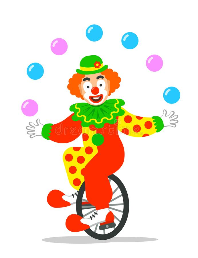 Free Funny Circus Clown Juggling Balls On Unicycle Stock Photo - 110484480