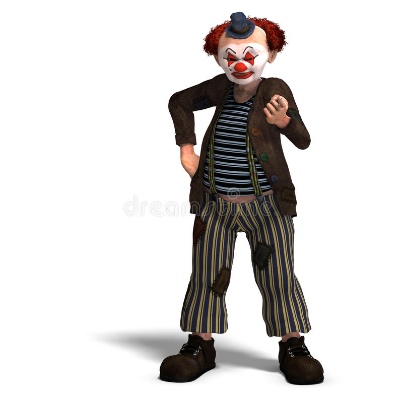 Funny Circus Clown With Lot Of Emotions Stock Photo