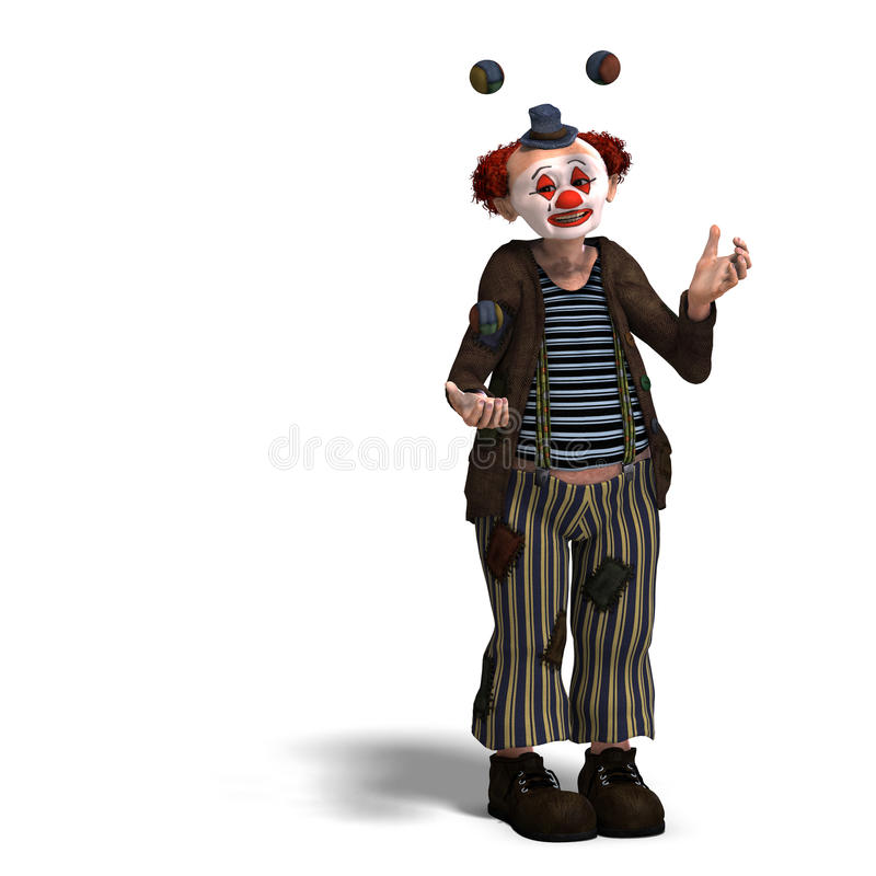 Funny circus clown with lot of emotions stock illustration