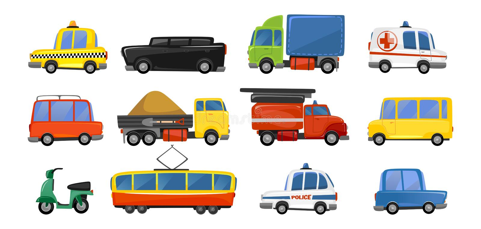 Funny city transport objects in trendy cartoon style. Vector public transport collection. ambulance fire-engine police taxi royalty free illustration