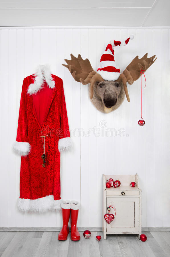 Funny classical santa christmas decoration background in red and royalty free stock images
