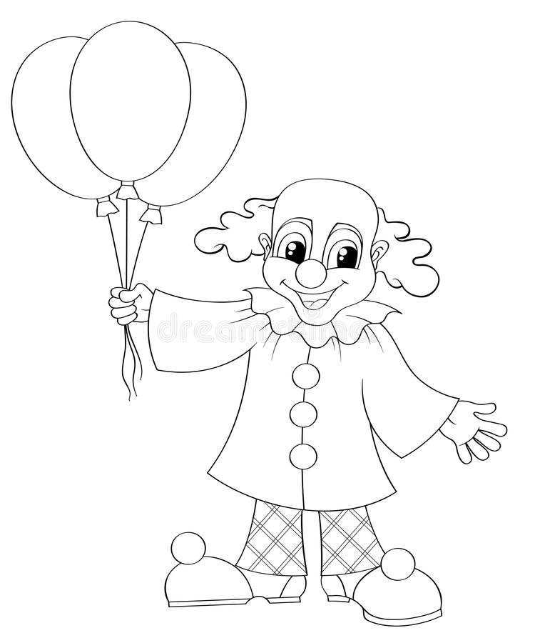 Funny clown with balloons stock illustration
