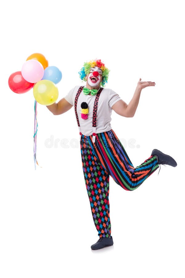 The funny clown with balloons isolated on white background royalty free stock photo