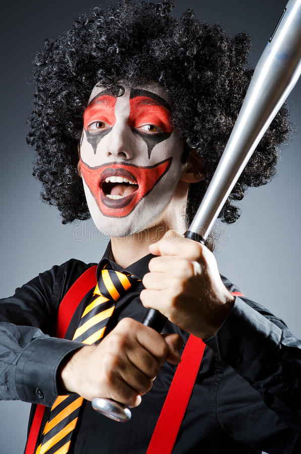 Download Funny clown with bat stock image. Image of attractive - 25871041