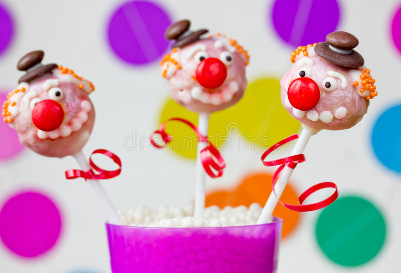 Funny clown cake pops royalty free stock photo