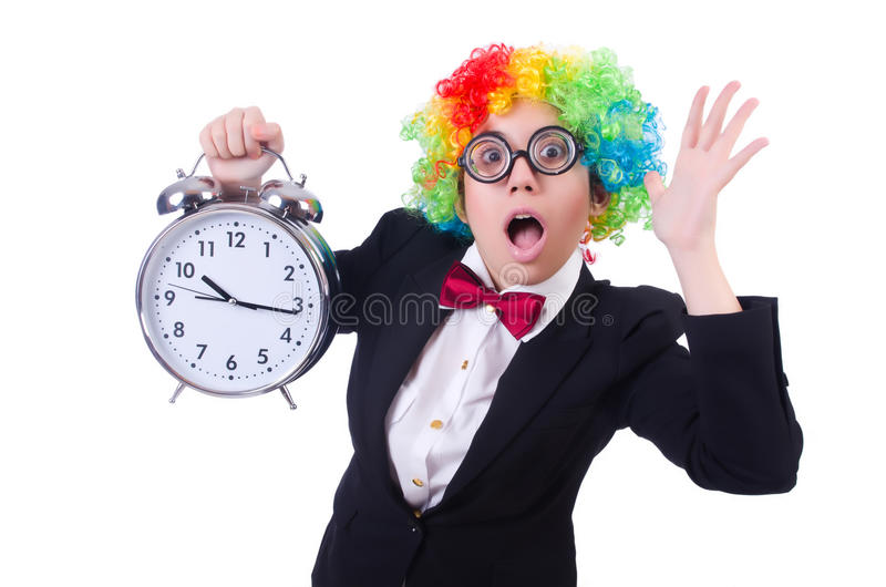 Download Funny clown with clock stock image. Image of humorous - 32811663