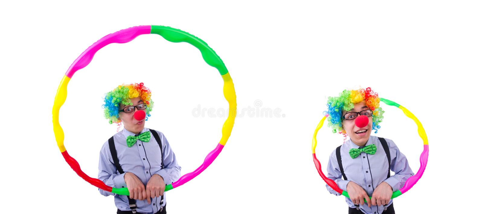 Funny clown with hula hoop on white royalty free stock images