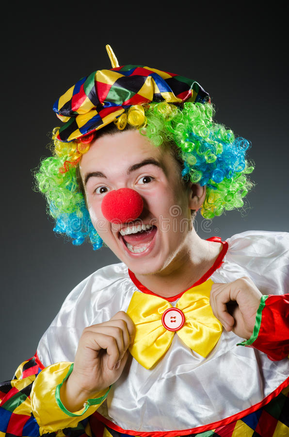 Funny clown in humor stock photos
