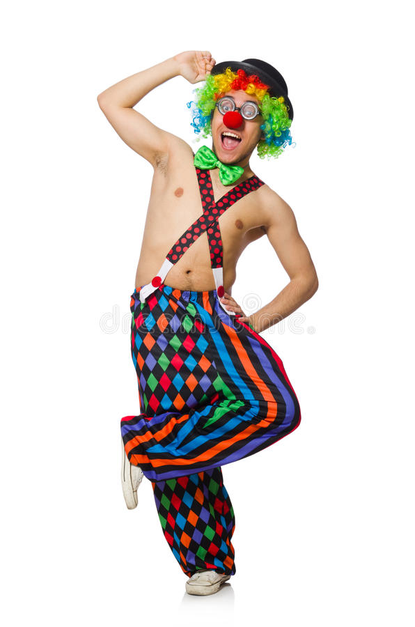 Funny clown isolated. On the white background royalty free stock photography