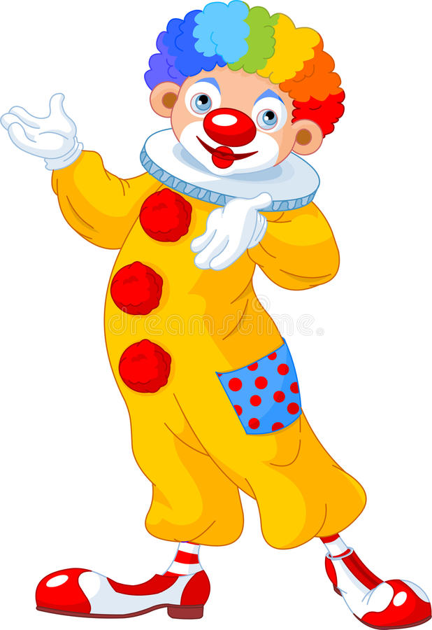 Funny Clown Presenting Stock Images