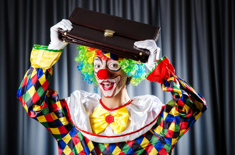 Funny Clown In The Studio Stock Images