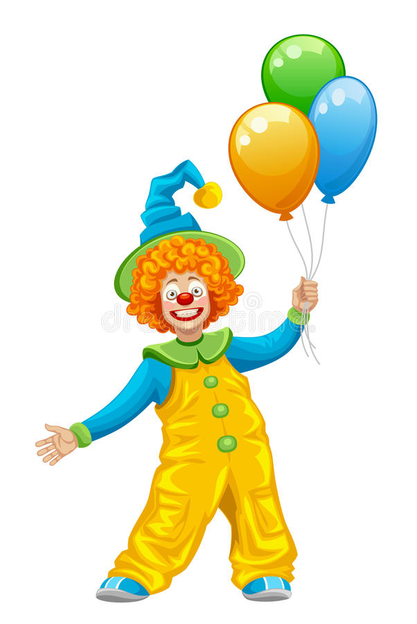 Funny clown. On a white background vector illustration
