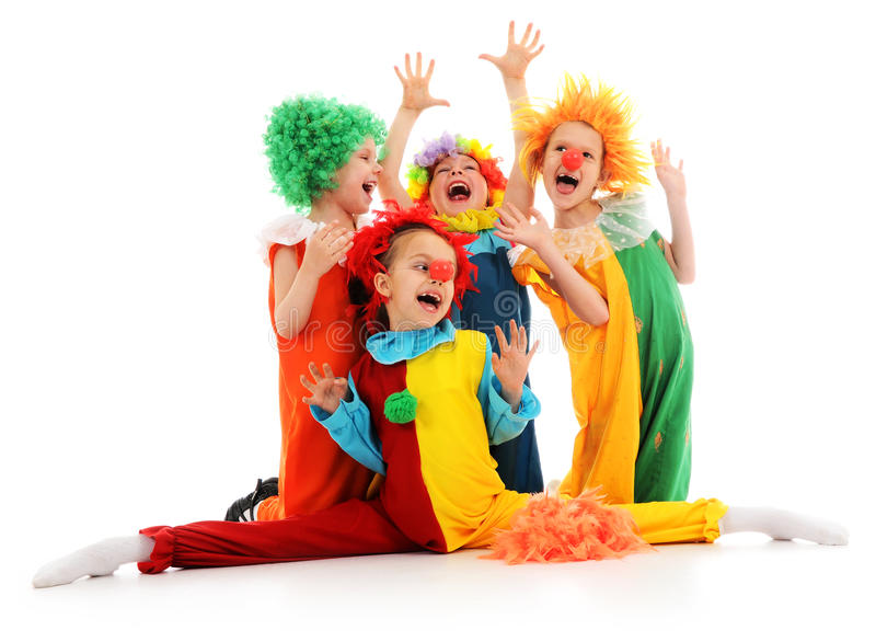 Funny clowns. Group of funny clowns on white stock images