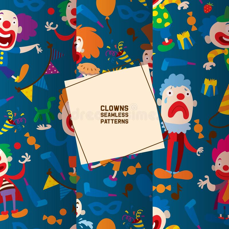 Funny clowns characters and different circus accessories seamless pattern. Character cartoon clown, comedian and jester vector illustration
