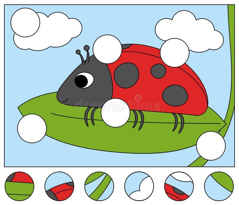 Funny coccinelle rouge sur la feuille verte Complétez le puzzle et trouvez les parties manquantes de l'image Jeu pour enfants illustration libre de droits