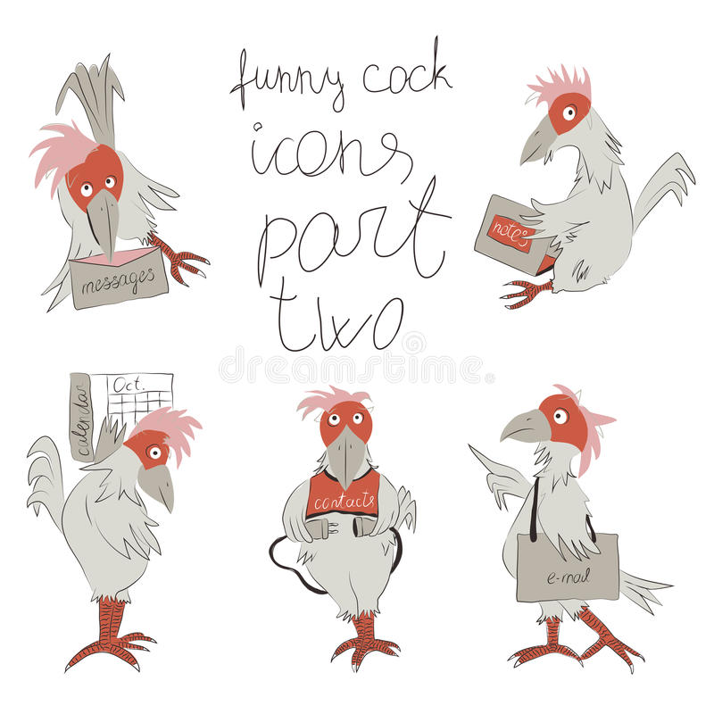 Funny cock- icons part two stock photography