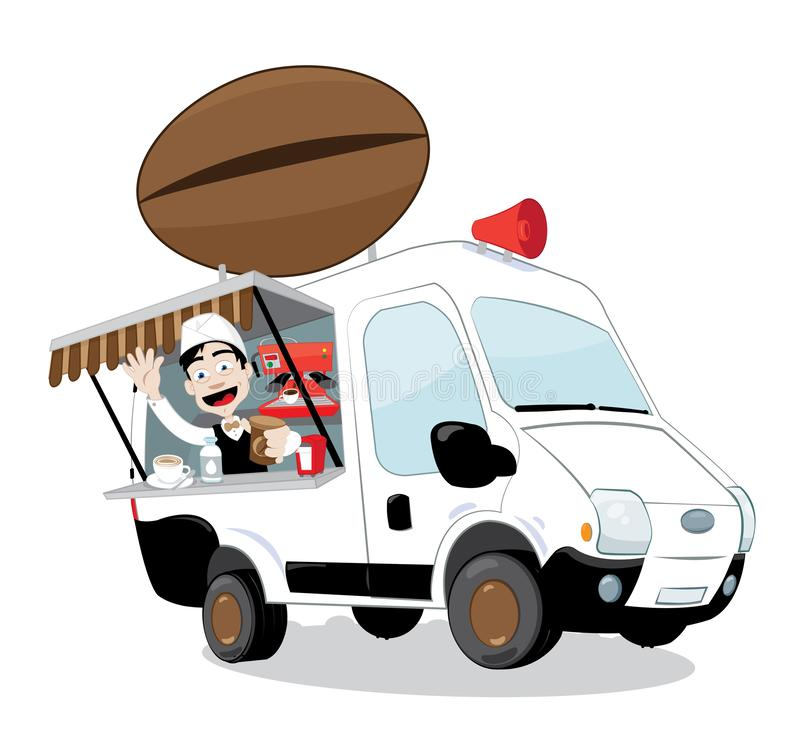 Funny coffee van parked and friendly barman cheering and smiling vector illustration