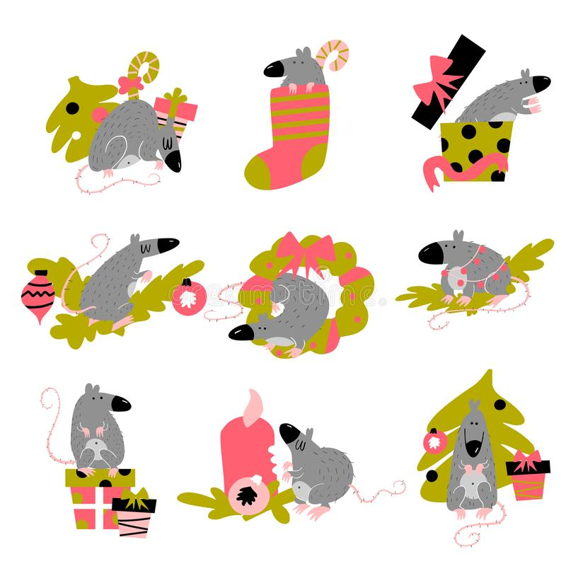 Funny collection of christmas rats. Symbol of 2020 year in chinese calendar. Vector cartoon isolated illustration. stock illustration