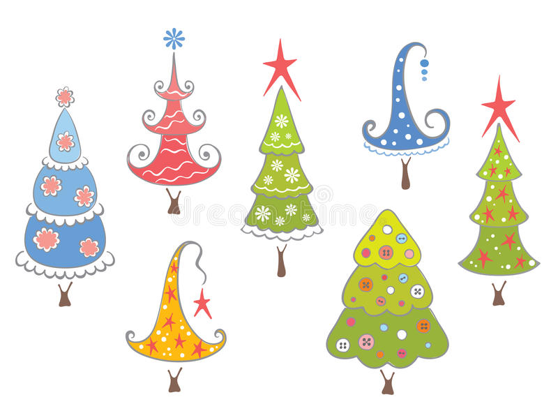Funny collection of Christmas trees vector illustration