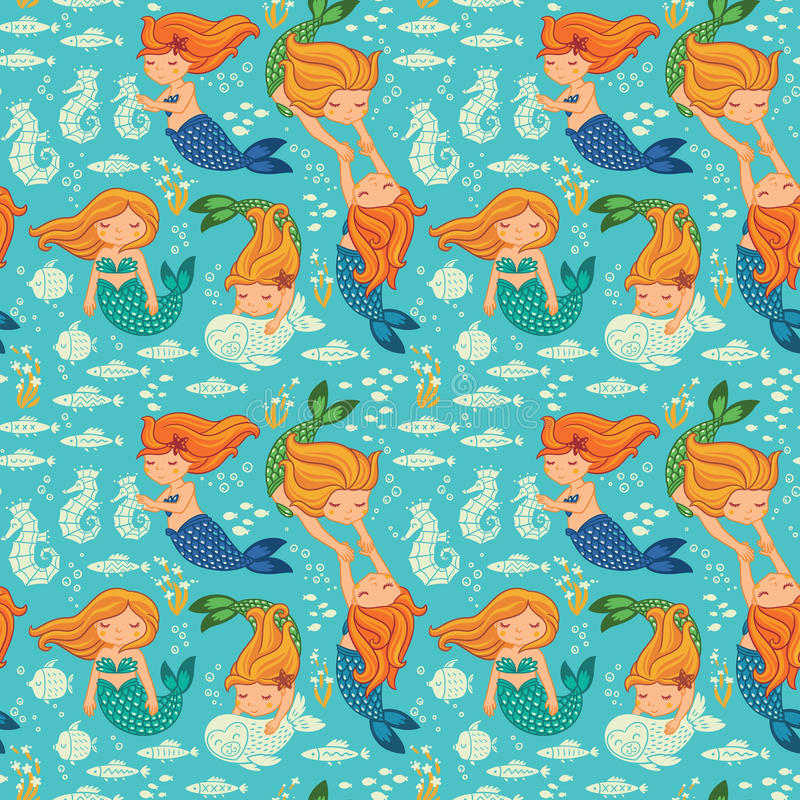 Funny color seamless pattern with mermaids stock illustration