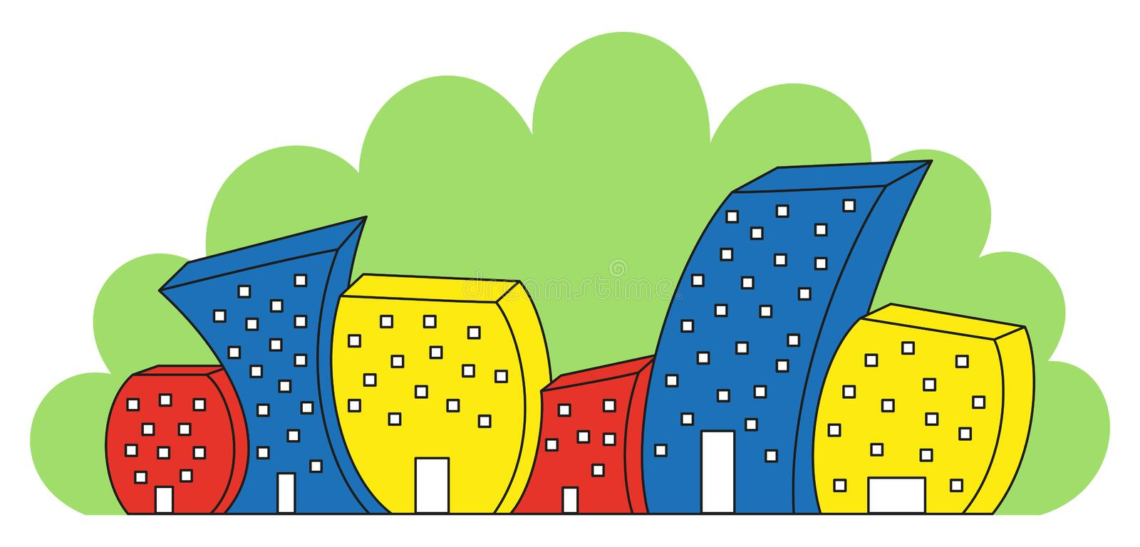 Download Funny colored houses stock vector. Image of home, modern - 33513301