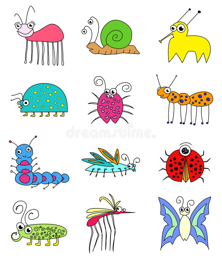 Funny Colored Insects Bugs Set royalty free illustration