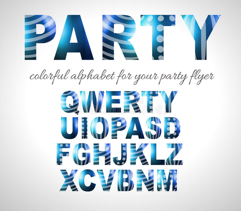 Funny Colorful Alphabet for party flyers or invitation cards stock illustration