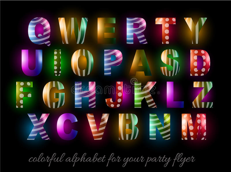 Funny Colorful Alphabet for party flyers stock illustration