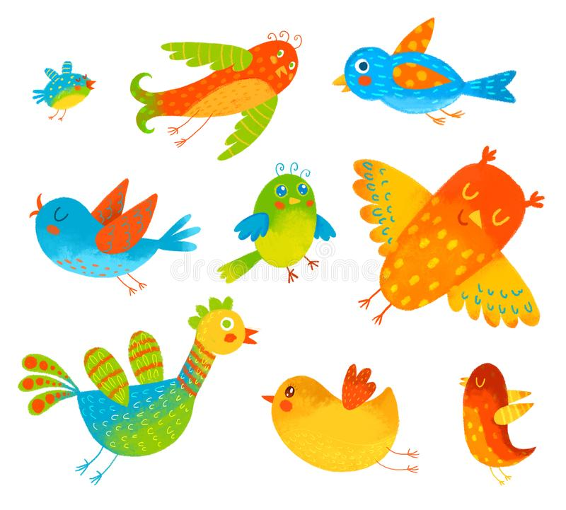 Funny colorful birdies. Isolated on white background. Hand-drawing Illustration. Set royalty free illustration