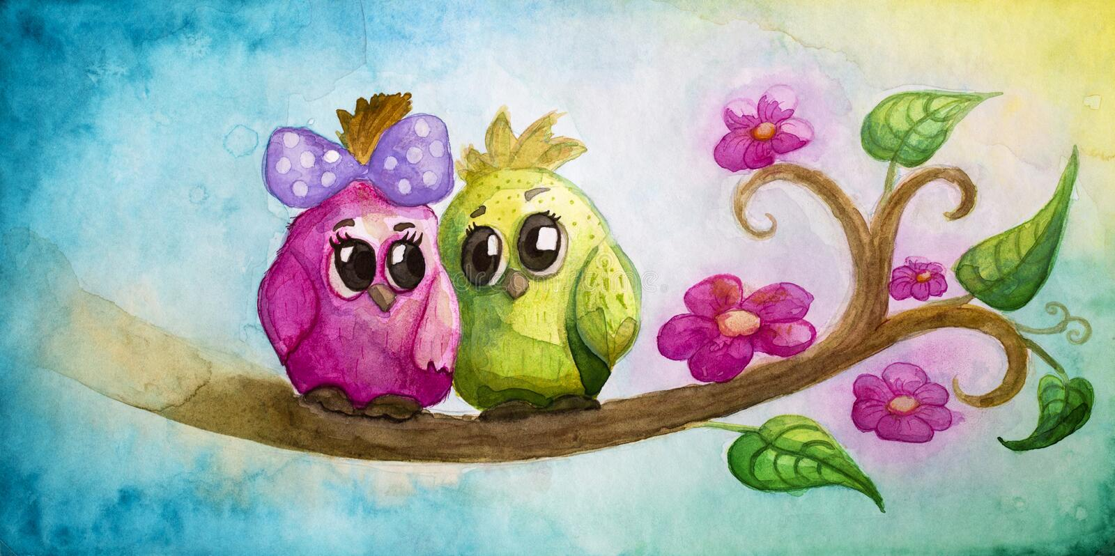 Funny colorful birds. On a tree royalty free illustration