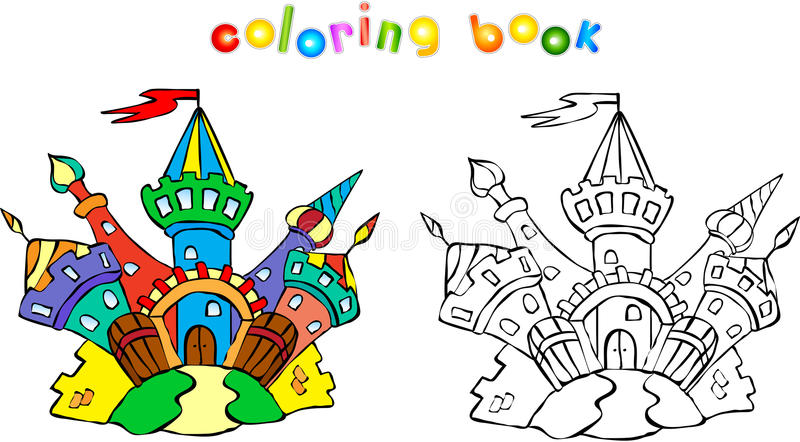 Funny Colorful Castle Coloring Book Stock Vector - Illustration of ...