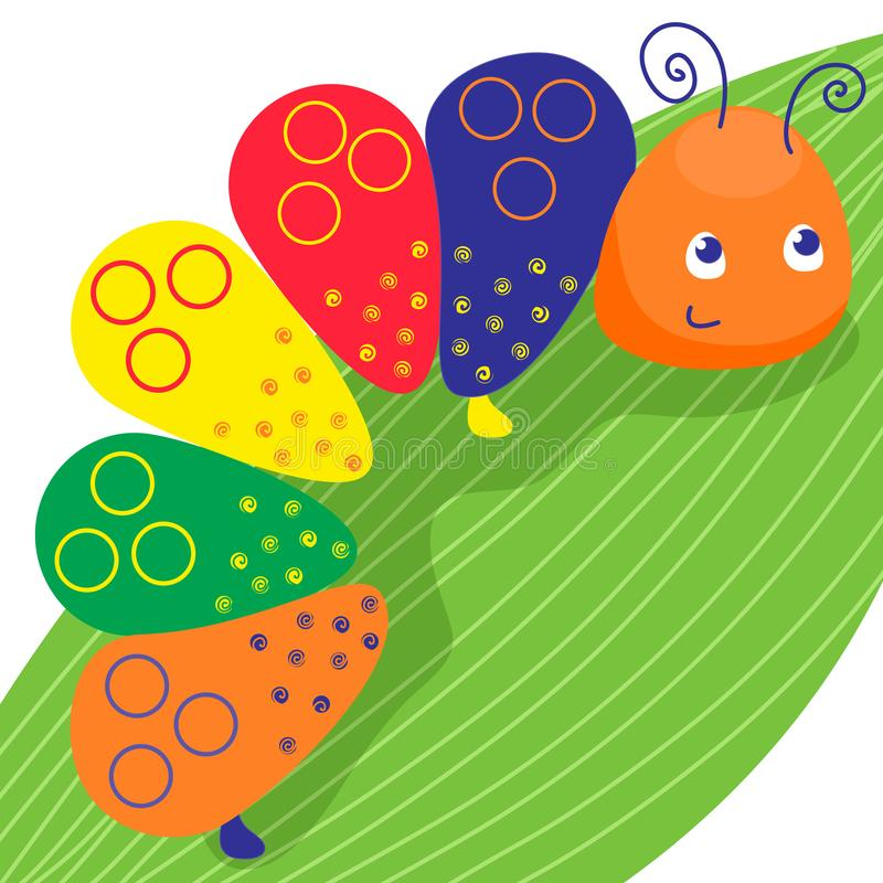 Funny colorful caterpillar. Smiling insect on the green leave. Vector illustration. Cartoon baby style vector illustration